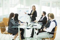 el equipo del negocio da una presentación de un nuevo proyecto financiero para los socios comerciales de la compañía Foto de archivo
