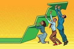 El equipo del negocio levanta para arriba la carta de crecimiento, gente afroamericana stock de ilustración