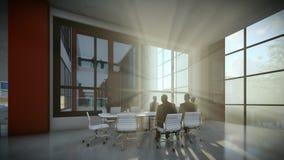 El equipo del negocio siluetea la reunión, edificio de oficinas en la puesta del sol, inclinación stock de ilustración