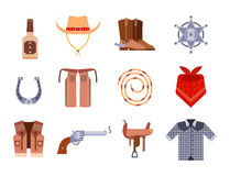 El equipo del oeste salvaje del rodeo del vaquero de los iconos del sistema de elementos y diversos accesorios vector el ejemplo Imagen de archivo libre de regalías