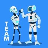 El equipo, dos robots da el uno al otro el vector cinco Ilustración aislada