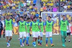 El equipo nacional brasileño substituye durante Copa América Centenar Imagen de archivo libre de regalías