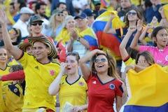 El equipo nacional de Colombia aviva durante Copa América Centenario Foto de archivo