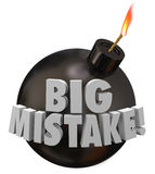 El error grande de la bomba del error explota peligro de la equivocación Fotos de archivo