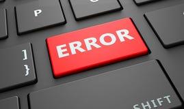 El error incorpora la llave, teclado de ordenador Fotografía de archivo libre de regalías