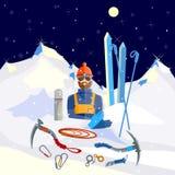 El escalador del montañés equipa invierno del turismo el subir y de la aventura stock de ilustración