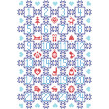 El escandinavo de la oscuridad, azul claro y rojo inspiró por el calendario nórdico con los elementos decorativos tales como copo Foto de archivo libre de regalías