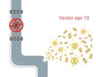 El escape de la tubería se daña Gap, desplome es una grieta en la fontanería El dinero del concepto es perdido debido a la fractu libre illustration