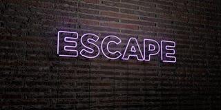 El ESCAPE - señal de neón realista en fondo de la pared de ladrillo - 3D rindió imagen común libre de los derechos Fotos de archivo