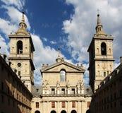 El escorial, madrid, facade of the basilica. An overall view of the facade of the basilica of san lorenzo de el escorial, with the belltowers, near madrid, spain stock photos