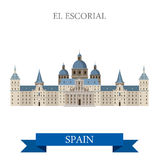 El Escorial Monastery King Residence Madrid Spain flat vector. El Escorial Monastery King Residence in Madrid Spain. Flat cartoon style historic sight showplace Royalty Free Stock Image