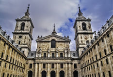 El Escorial Monastery main entrance. El Escorial, November 2012. Royal Seat and Monastery of San Lorenzo de El Escorial, residence of some kings of Spain and Royalty Free Stock Images