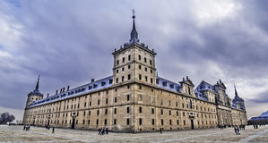 El Escorial Monastery panorama corner. El Escorial, November 2012. Royal Seat and Monastery of San Lorenzo de El Escorial, residence of some kings of Spain and Stock Images