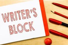 El escritor s de la escritura del texto de la escritura es bloque Condición del significado del concepto de no poder pensar en qu imagen de archivo