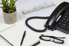 El escritorio de los contables que muestra un gráfico, llama por teléfono a una planta del cactus Foto de archivo