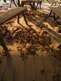 El escritorio y la silla en un piso de madera en restaurante abandonado Imagen de archivo