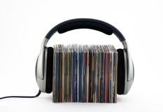 El escuchar el concepto de la música Imagen de archivo