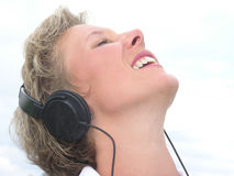 El escuchar la música 03 Imagen de archivo libre de regalías