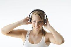 El escuchar la música Fotos de archivo