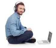 El escuchar la música Foto de archivo