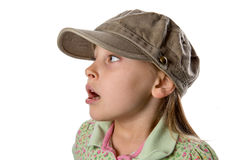 El escuchar - muchacha en sombrero verde Foto de archivo