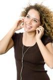 El escuchar un jugador MP3 Foto de archivo libre de regalías