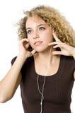 El escuchar un jugador MP3 Fotografía de archivo