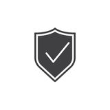 El escudo con el icono de la marca de verificación, guarda illustratio sólido del logotipo Imagen de archivo libre de regalías