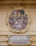 El escudo de armas de la fachada en el centro histórico de Landhaus enumeró como patrimonio mundial de la UNESCO en Graz Fotos de archivo