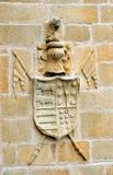 El escudo de armas, palacio de Becerra, ¡de la casa de CÃ ceres, España, Extremadura, España Fotos de archivo