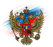 El escudo de armas de Rusia en el fondo de la bandera rusa ilustración del vector