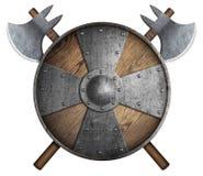 El escudo de madera viejo y dos del ` s del cruzado cruzaron el ejemplo aislado las hachas 3d libre illustration