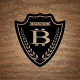 El escudo del vector con símbolo del bitcoin Fotografía de archivo