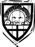El escudo heráldico Sun hace frente Foto de archivo libre de regalías