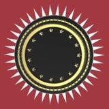El escudo redondo en blanco realista con las estrellas y los puntos alrededor, 3d de alta calidad aislado rinde stock de ilustración