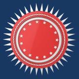El escudo redondo en blanco realista con las estrellas y los puntos alrededor, 3d de alta calidad aislado rinde ilustración del vector