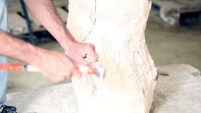 El escultor está trabajando en la creación de un monumento almacen de metraje de vídeo