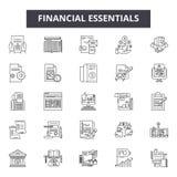 El esencial financiero alinea los iconos, muestras, sistema del vector, concepto del ejemplo del esquema stock de ilustración