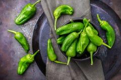 El español mexicano verde crudo sazona el jalapeno con pimienta Imagen de archivo libre de regalías