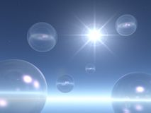 El espacio burbujea fondo con la estrella Fotografía de archivo libre de regalías