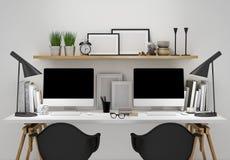 El espacio de trabajo moderno para la plantilla dos, imita encima de fondo Imágenes de archivo libres de regalías