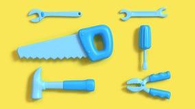 el espacio del fondo amarillo m?nimo del objeto del fondo de las herramientas del estilo azul de la historieta, herramientas 3d d libre illustration