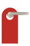 El espacio en blanco rojo aislado no disturba la etiqueta de la puerta Imagen de archivo