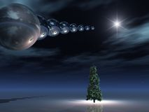 El espacio -- Horizonte surrealista de la noche de la Navidad Foto de archivo libre de regalías