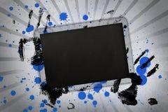 El espacio negro de la copia con la mano imprime y la pintura salpica Foto de archivo