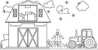El espantapájaros rural de la granja y del tractor enrarece la línea Fotos de archivo libres de regalías