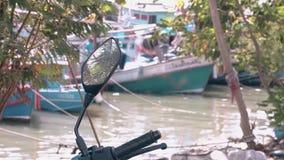 El espejo de la moto refleja la palmera contra bahía borrosa almacen de metraje de vídeo