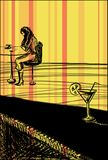 El esperar en el café Stock de ilustración