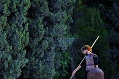 El esperar griego del guerrero Foto de archivo libre de regalías