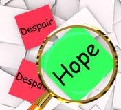 El esperar o depresión de la demostración de los papeles del post-it de la desesperación de la esperanza libre illustration